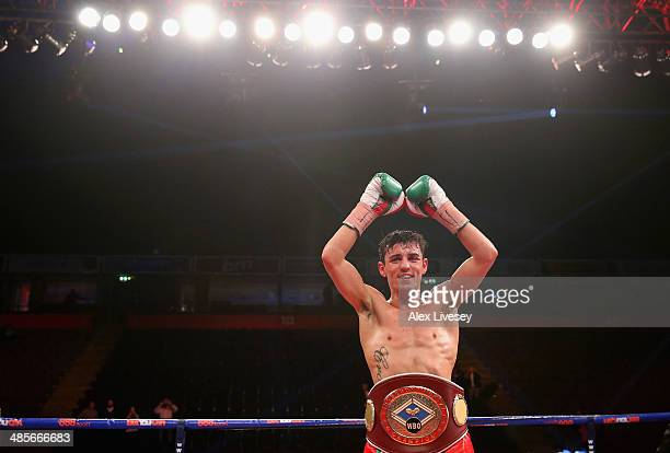 Anthony Crolla celebrates after victory over John Murray during the WBO InterContinental Lightweight Title fight between Anthony Crolla and John...