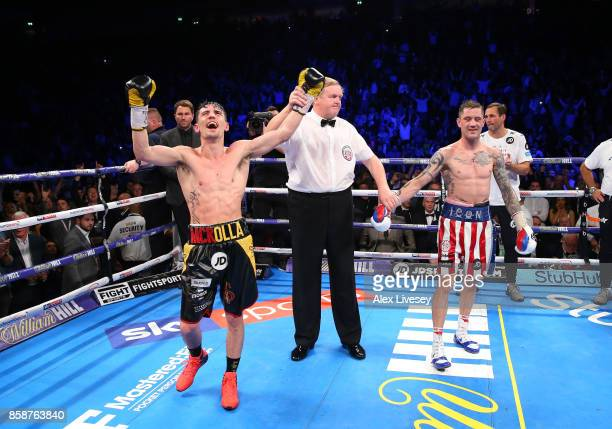Anthony Crolla celebrates victory over Ricky Burns after the Lightweight contest at Manchester Arena on October 7 2017 in Manchester England
