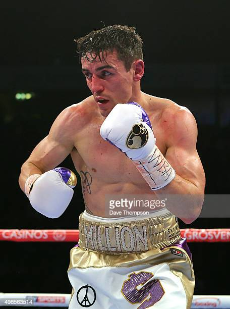 Anthony Crolla in action against Darleys Perez during their WBA World Lightweight Championship bout at the Manchester Arena on November 21 2015 in...