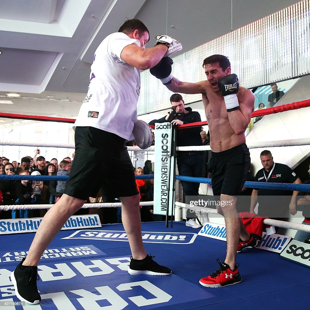 Anthony Crolla in action during a media work out at the National Football Museum on May 02, 2016 in Manchester, England.
