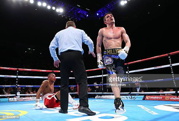 Anthony Crolla knocks down Ismael Barroso during his victory in the WBA World Lightweight Championship fight between Anthony Crolla and Ismael...
