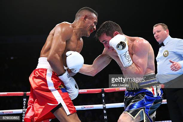 Anthony Crolla lands a right shot on Ismael Barroso during the WBA World Lightweight Championship fight between Anthony Crolla and Ismael Barroso at...