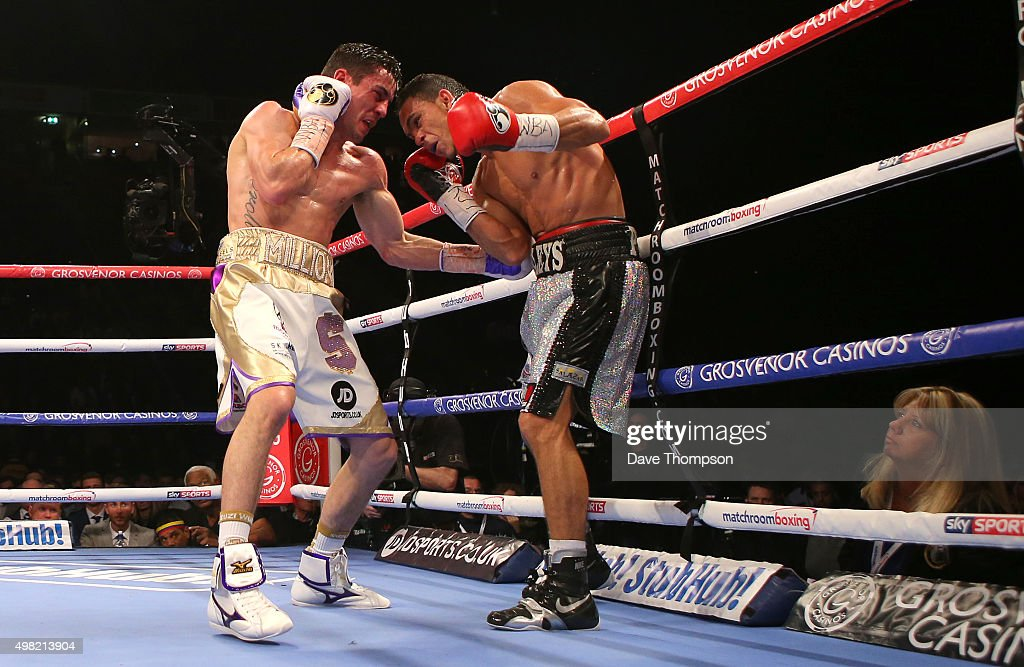 Anthony Crolla lands a winning body shot on Darleys Perez during their WBA World Lightweight Championship bout at the Manchester Arena on November 21...