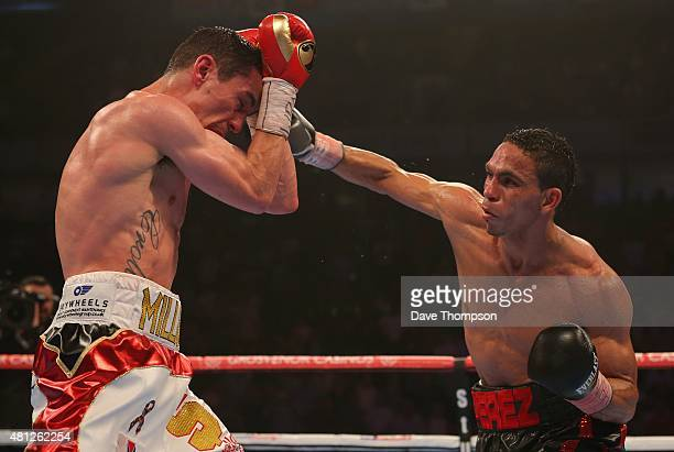 Anthony Crolla left and Darleys Perez during their WBA World Lightweight Championship contest at the Manchester Arena on July 18 2015 in Manchester...
