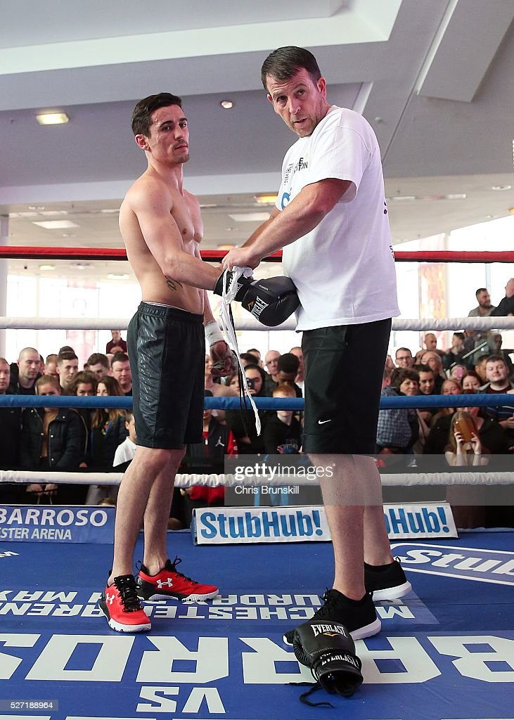 <a gi-track='captionPersonalityLinkClicked' href=/galleries/search?phrase=Anthony+Crolla&family=editorial&specificpeople=2133062 ng-click='$event.stopPropagation()'>Anthony Crolla</a> looks on next to trainer Joe Gallagher during a media work out at the National Football Museum on May 02, 2016 in Manchester, England.