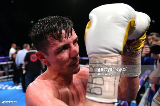 Anthony Crolla of Great Britain looks dejected following defeat in the WBC Diamand and Ring Magazine Lightweight Championship rematch between Jorge...