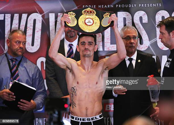 Anthony Crolla poses as he attends the WeighIn ahead of the Lightweight World title fight against Jorge Linares at Radisson Edwardian Hotel on...
