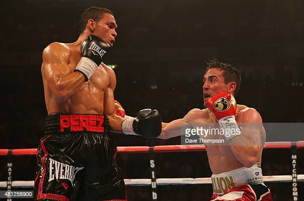 Anthony Crolla right and Darleys Perez during their WBA World Lightweight Championship contest at the Manchester Arena on July 18 2015 in Manchester...