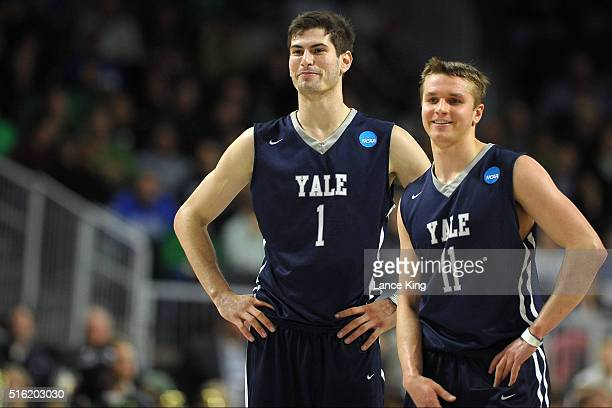 Anthony Dallier and Makai Mason of the Yale Bulldogs share a laugh during their game against the Baylor Bears during the first round of the 2016 NCAA...
