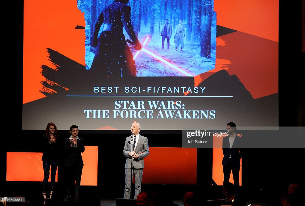 Anthony Daniels accept the award for Best Sci-Fi/Fantasy film for Star Wars, on stage during the Jameson Empire Awards 2016 at The Grosvenor House Hotel on March 20, 2016 in London, England.