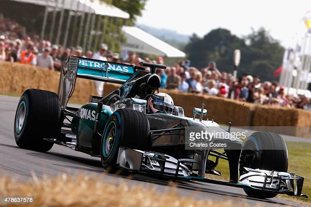 Anthony Davidson in the 2013 Mercedes F1 at Goodwood on June 26 2015 in Chichester England