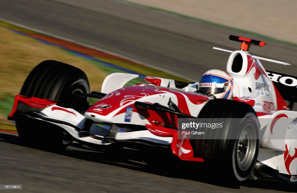 Anthony Davidson of Great Britain and Super Aguri F1 is shown in action during Formula One testing at the Circuit Ricardo Tormo on February 1 2007 in...