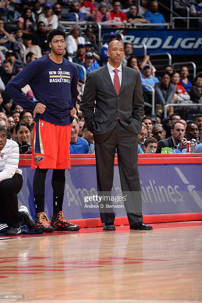 Anthony Davis and head coach Monty Williams of the New Orleans Pelicans during the game against the Los Angeles Clippers on March 22 2015 at STAPLES...