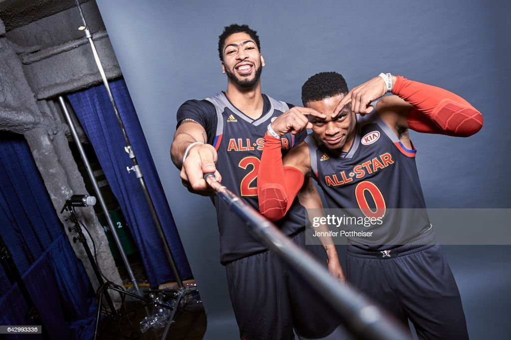 Anthony Davis #23 and Russell Westbrook #0 of the Western Conference All-Stars poses for a portrait during the NBA All-Star Game as part of 2017 All-Star Weekend at the Smoothie King Center on February 19, 2017 in New Orleans, Louisiana.