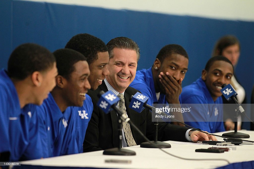 Anthony Davis, Doron Lamb,Terrence Jones, John Calipari the Kentucky Wildcats, Michael Kidd-Gilchrist and Marquis Teague talks with the media during the news conference in which all five players announced they will enter the NBA draft at Joe Craft Center on April 17, 2012 in Lexington, Kentucky.