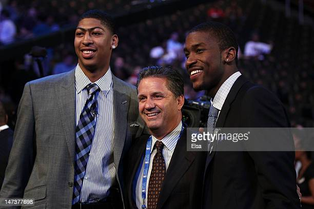 Anthony Davis head coach John Calipari and Michael KiddGilchrist of the Kentucky Wildcats pose during the first round of the 2012 NBA Draft at...