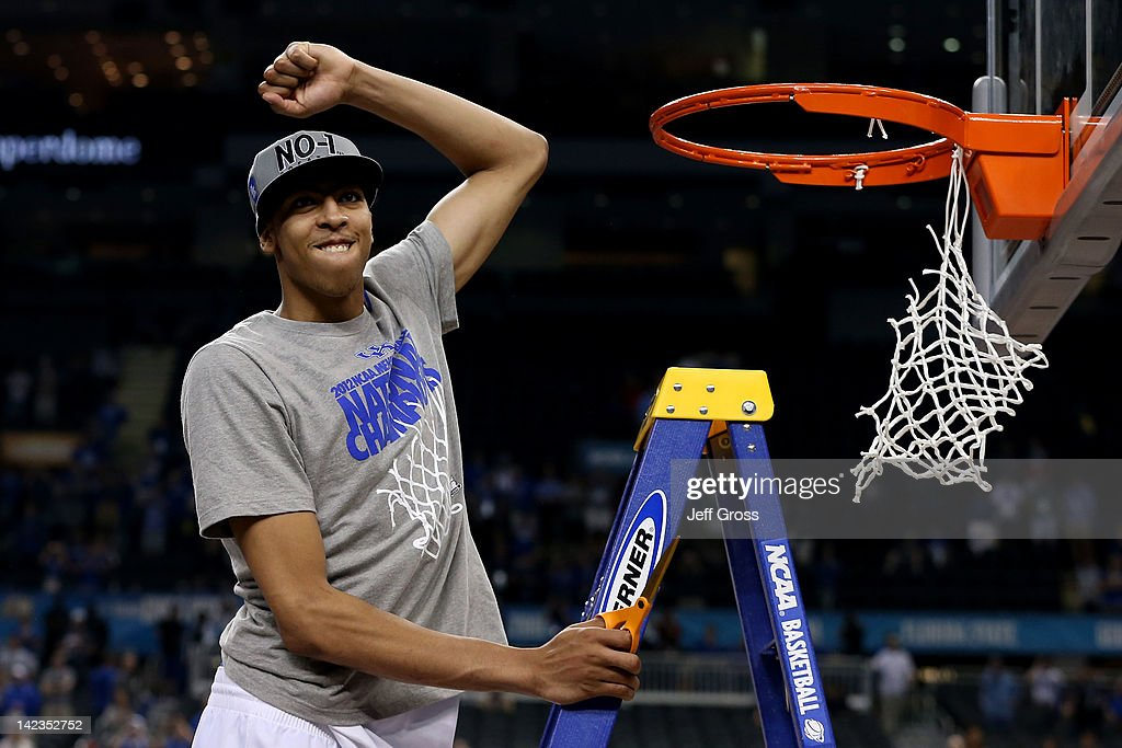 Anthony Davis #23 of the Kentucky Wildcats celebrates before he cuts down the net after the Wildcats defeat the Kansas Jayhawks 67-59 in the National Championship Game of the 2012 NCAA Division I Men's Basketball Tournament at the Mercedes-Benz Superdome on April 2, 2012 in New Orleans, Louisiana.