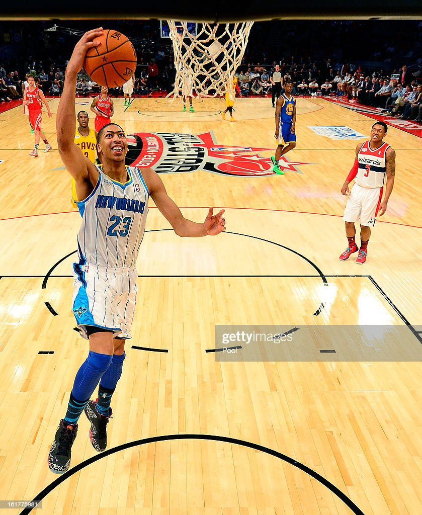 Anthony Davis #23 of the New Orleans Hornets and Team Chuck lays the ball up in the first half in the BBVA Rising Stars Challenge 2013 part of the 2013 NBA All-Star Weekend at the Toyota Center on February 15, 2013 in Houston, Texas.