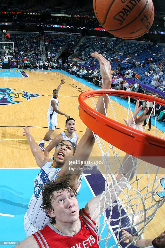 Anthony Davis #23 of the New Orleans Hornets attempts to block a shot against <a gi-track='captionPersonalityLinkClicked' href=/galleries/search?phrase=Omer+Asik&family=editorial&specificpeople=4946055 ng-click='$event.stopPropagation()'>Omer Asik</a> #3 of the Houston Rockets on October 24, 2012 at the New Orleans Arena in New Orleans, Louisiana.
