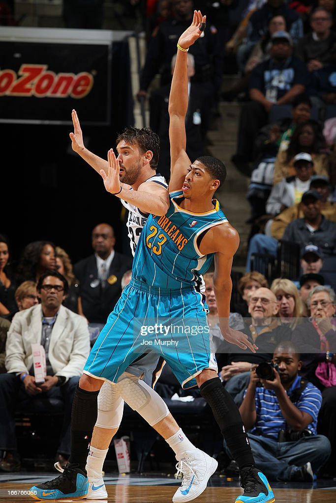 Anthony Davis #23 of the New Orleans Hornets battles for positioning against <a gi-track='captionPersonalityLinkClicked' href=/galleries/search?phrase=Marc+Gasol&family=editorial&specificpeople=661205 ng-click='$event.stopPropagation()'>Marc Gasol</a> #33 of the Memphis Grizzlies on March 9, 2013 at FedExForum in Memphis, Tennessee.