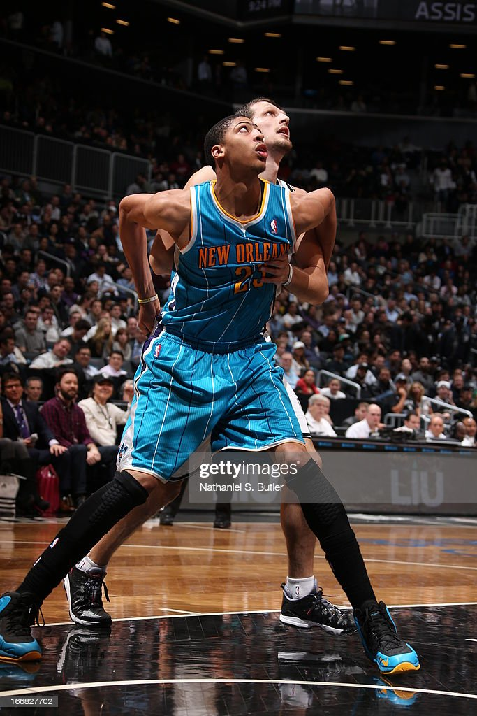 Anthony Davis #23 of the New Orleans Hornets battles for positioning against <a gi-track='captionPersonalityLinkClicked' href=/galleries/search?phrase=Mirza+Teletovic&family=editorial&specificpeople=2255667 ng-click='$event.stopPropagation()'>Mirza Teletovic</a> #33 of the Brooklyn Nets on March 12, 2013 at the Barclays Center in the Brooklyn borough of New York City.