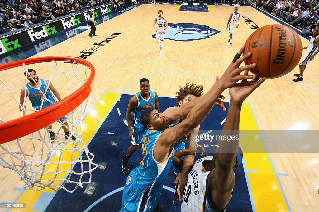 Anthony Davis #23 of the New Orleans Hornets blocks a shot against <a gi-track='captionPersonalityLinkClicked' href=/galleries/search?phrase=Zach+Randolph&family=editorial&specificpeople=201595 ng-click='$event.stopPropagation()'>Zach Randolph</a> #50 of the Memphis Grizzlies on January 27, 2013 at FedExForum in Memphis, Tennessee.