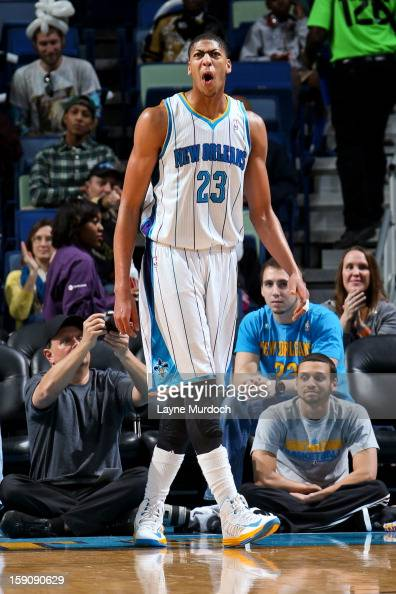 Anthony Davis of the New Orleans Hornets celebrates while playing the San Antonio Spurs on January 7 2013 at the New Orleans Arena in New Orleans...