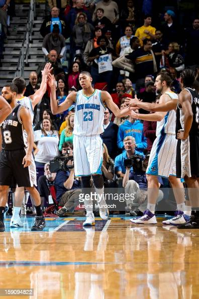 Anthony Davis of the New Orleans Hornets celebrates with teammates while playing the San Antonio Spurs on January 7 2013 at the New Orleans Arena in...
