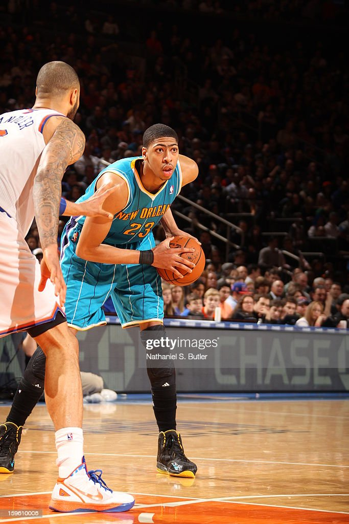 Anthony Davis #23 of the New Orleans Hornets drives against the New York Knicks on January 13, 2013 at Madison Square Garden in New York City.