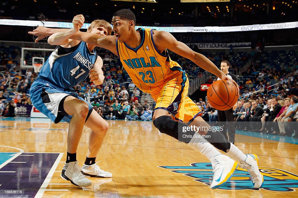 Anthony Davis #23 of the New Orleans Hornets drives the ball around <a gi-track='captionPersonalityLinkClicked' href=/galleries/search?phrase=Andrei+Kirilenko&family=editorial&specificpeople=201909 ng-click='$event.stopPropagation()'>Andrei Kirilenko</a> #47 of the Minnesota Timberwolves at New Orleans Arena on January 11, 2013 in New Orleans, Louisiana.