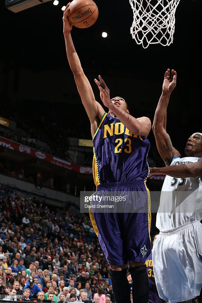 Anthony Davis #23 of the New Orleans Hornets drives to the basket against <a gi-track='captionPersonalityLinkClicked' href=/galleries/search?phrase=Dante+Cunningham&family=editorial&specificpeople=683729 ng-click='$event.stopPropagation()'>Dante Cunningham</a> #33 of the Minnesota Timberwolves on February 2, 2013 at Target Center in Minneapolis, Minnesota.