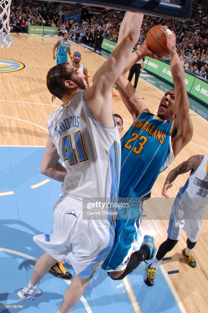 Anthony Davis #23 of the New Orleans Hornets drives to the basket against <a gi-track='captionPersonalityLinkClicked' href=/galleries/search?phrase=Kosta+Koufos&family=editorial&specificpeople=4216032 ng-click='$event.stopPropagation()'>Kosta Koufos</a> #41 of the Denver Nuggets on February 1, 2013 at the Pepsi Center in Denver, Colorado.