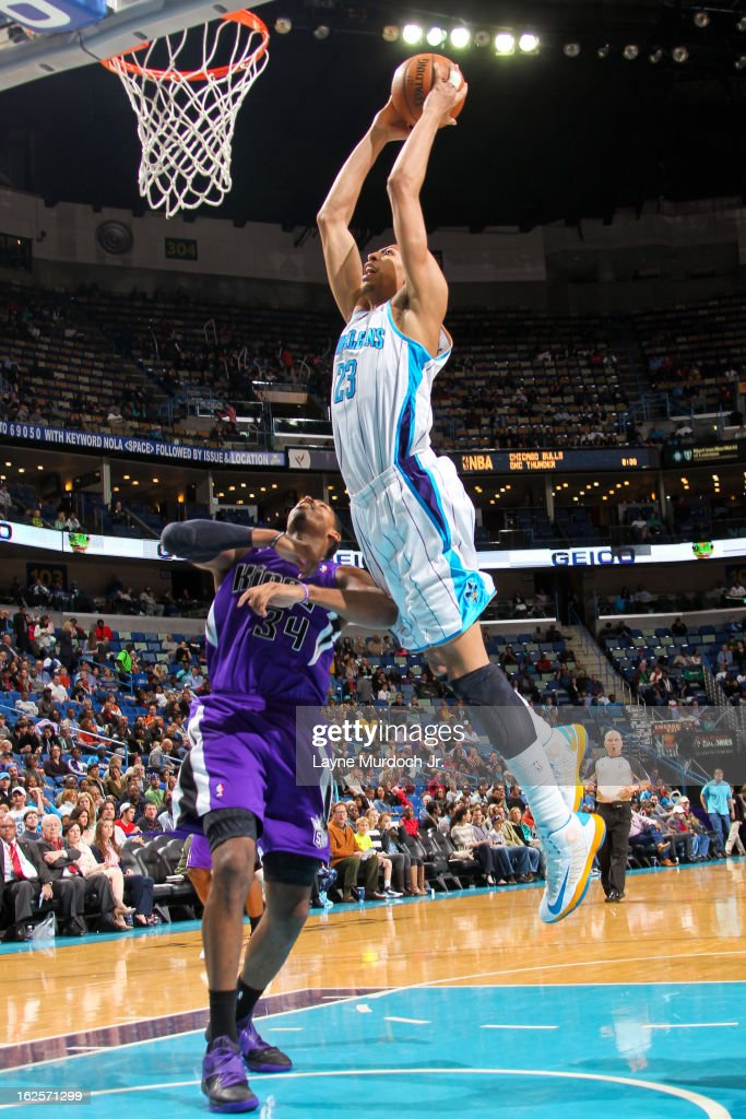 Anthony Davis #23 of the New Orleans Hornets dunks against Jason Thompson #34 of the Sacramento Kings on February 24, 2013 at the New Orleans Arena in New Orleans, Louisiana.