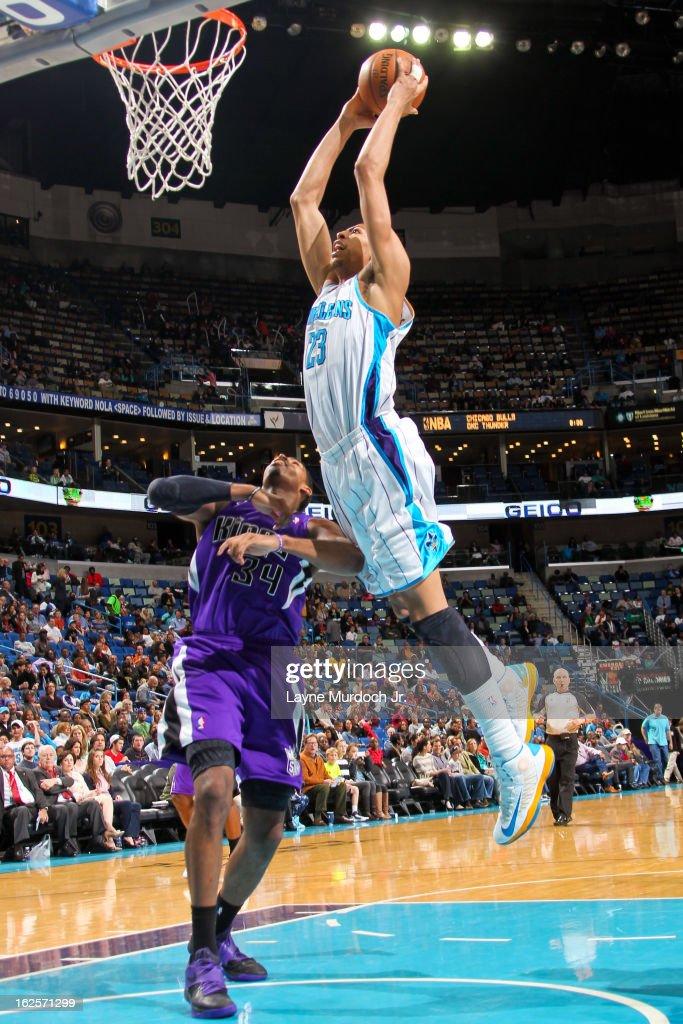 Anthony Davis #23 of the New Orleans Hornets dunks against Jason Thompson #34 of the Sacramento Kings on February 24, 2013 at the New Orleans Arena in New Orleans, Louisiana.