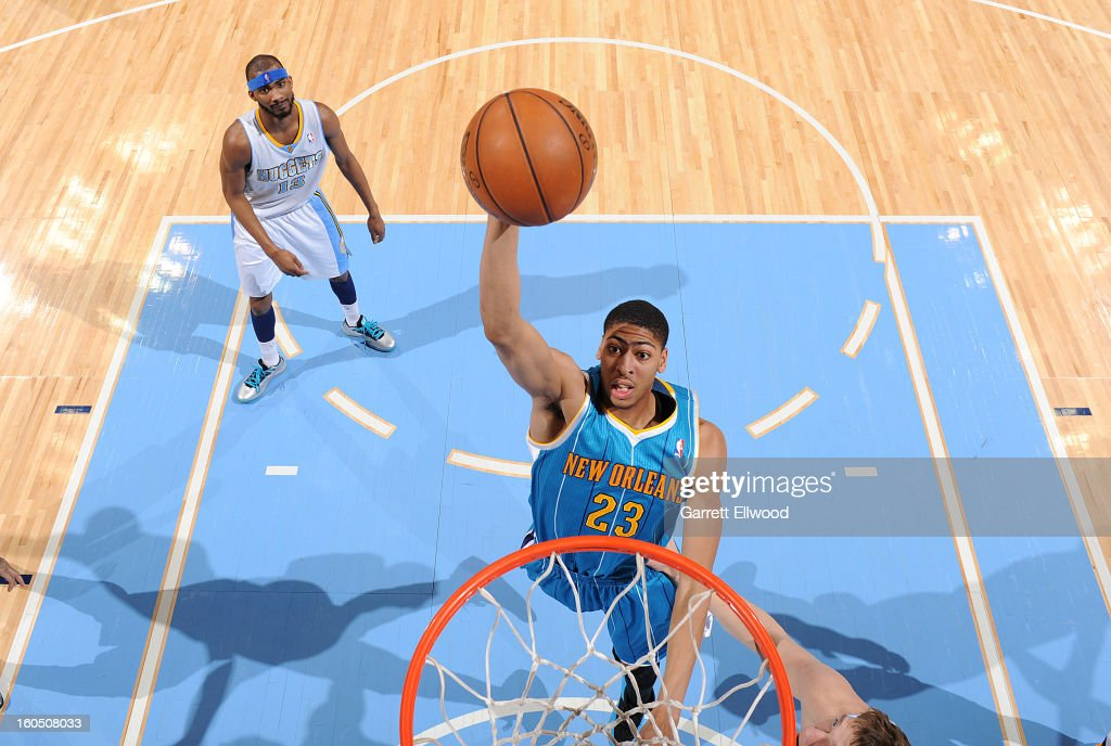 Anthony Davis #23 of the New Orleans Hornets dunks against the Denver Nuggets on February 1, 2013 at the Pepsi Center in Denver, Colorado.