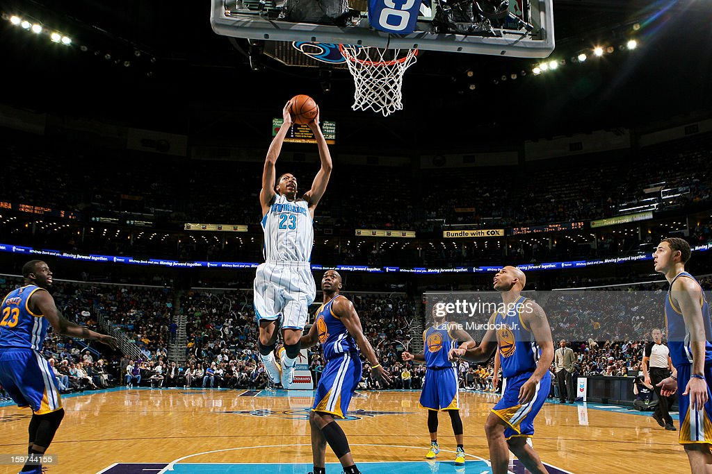 Anthony Davis #23 of the New Orleans Hornets dunks against the Golden State Warriors on January 19, 2013 at the New Orleans Arena in New Orleans, Louisiana.