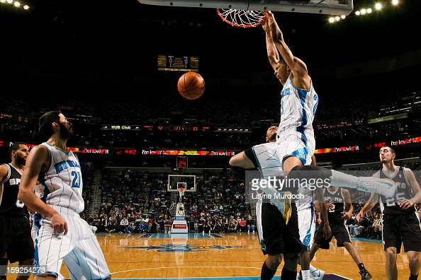 Anthony Davis of the New Orleans Hornets dunks against the San Antonio Spurs on January 7 2013 at the New Orleans Arena in New Orleans Louisiana NOTE...