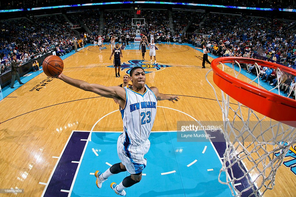 Anthony Davis #23 of the New Orleans Hornets dunks on a fast break against the Indiana Pacers on December 22, 2012 at the New Orleans Arena in New Orleans, Louisiana.