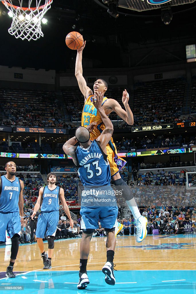 Anthony Davis #23 of the New Orleans Hornets dunks the ball against the Minnesota Timberwolves on January 11, 2013 at the New Orleans Arena in New Orleans, Louisiana.