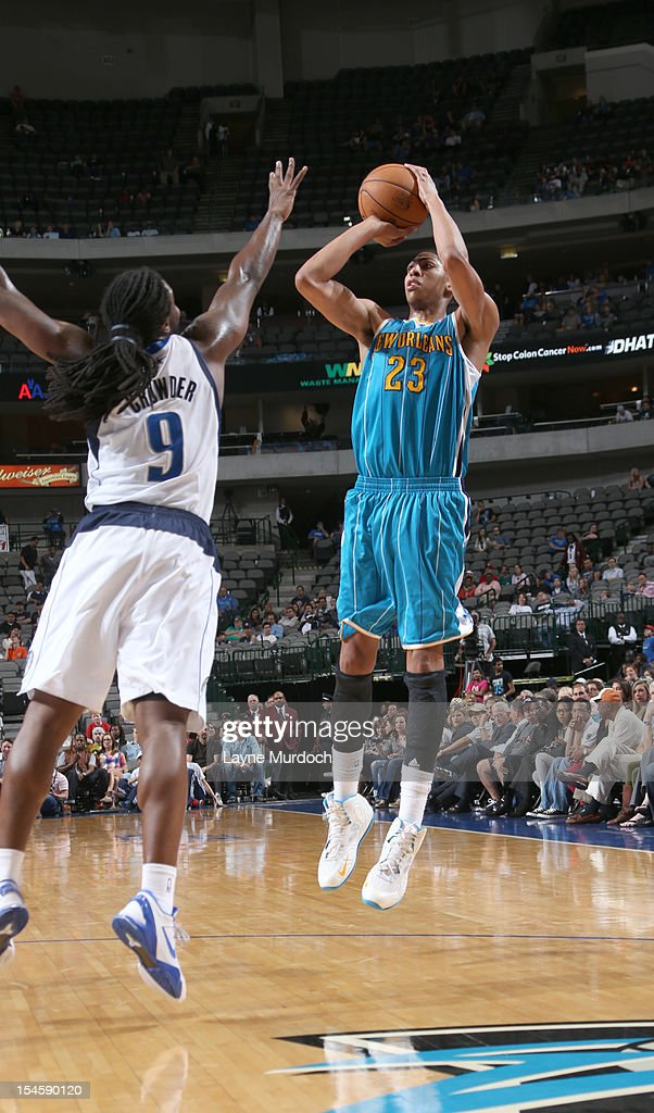 Anthony Davis #23 of the New Orleans Hornets goes for a jump shot against <a gi-track='captionPersonalityLinkClicked' href=/galleries/search?phrase=Jae+Crowder&family=editorial&specificpeople=7357507 ng-click='$event.stopPropagation()'>Jae Crowder</a> #9 of the Dallas Mavericksduring the game between the New Orleans Hornets and the Dallas Mavericks on October 22, 2012 at the American Airlines Center in Dallas, Texas.