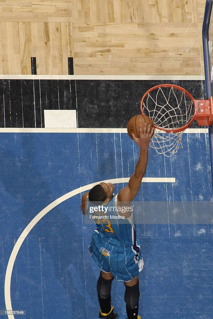 Anthony Davis #23 of the New Orleans Hornets goes up for a dunk with no one around against the Orlando Magic during the game on December 26, 2012 at Amway Center in Orlando, Florida.