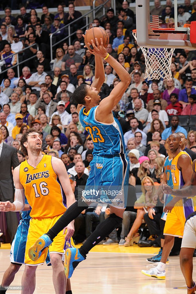 Anthony Davis #23 of the New Orleans Hornets goes up for the layup against the Los Angeles Lakers at Staples Center on April 9, 2013 in Los Angeles, California.