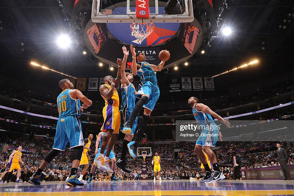 Anthony Davis #23 of the New Orleans Hornets grabs gthe rebound against the Los Angeles Lakers at Staples Center on April 9, 2013 in Los Angeles, California.