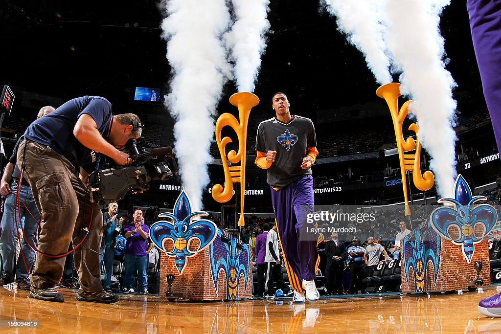 Anthony Davis #23 of the New Orleans Hornets is introduced before a game against the San Antonio Spurs on January 7, 2013 at the New Orleans Arena in New Orleans, Louisiana.