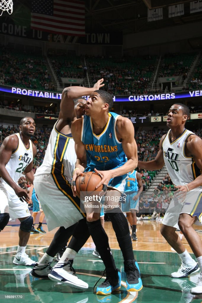 Anthony Davis #23 of the New Orleans Hornets looks to shoot the ball against <a gi-track='captionPersonalityLinkClicked' href=/galleries/search?phrase=Derrick+Favors&family=editorial&specificpeople=5792014 ng-click='$event.stopPropagation()'>Derrick Favors</a> #15 of the Utah Jazz at Energy Solutions Arena on April 5, 2013 in Salt Lake City, Utah.