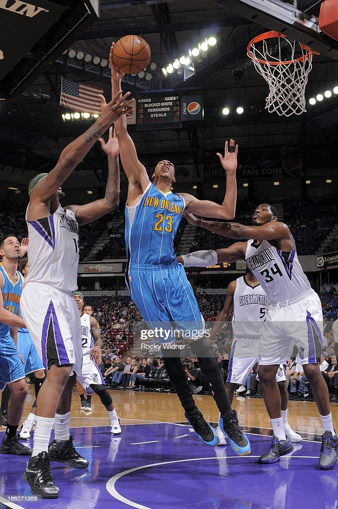 Anthony Davis #23 of the New Orleans Hornets rebounds the ball against the Sacramento Kings on April 10, 2013 at Sleep Train Arena in Sacramento, California.