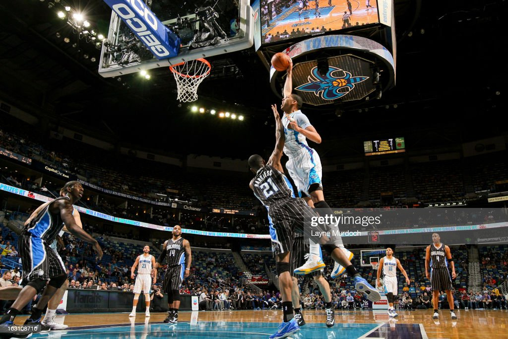 Anthony Davis #23 of the New Orleans Hornets rises for a dunk against Moe Harkless #21 of the Orlando Magic on March 4, 2013 at the New Orleans Arena in New Orleans, Louisiana.