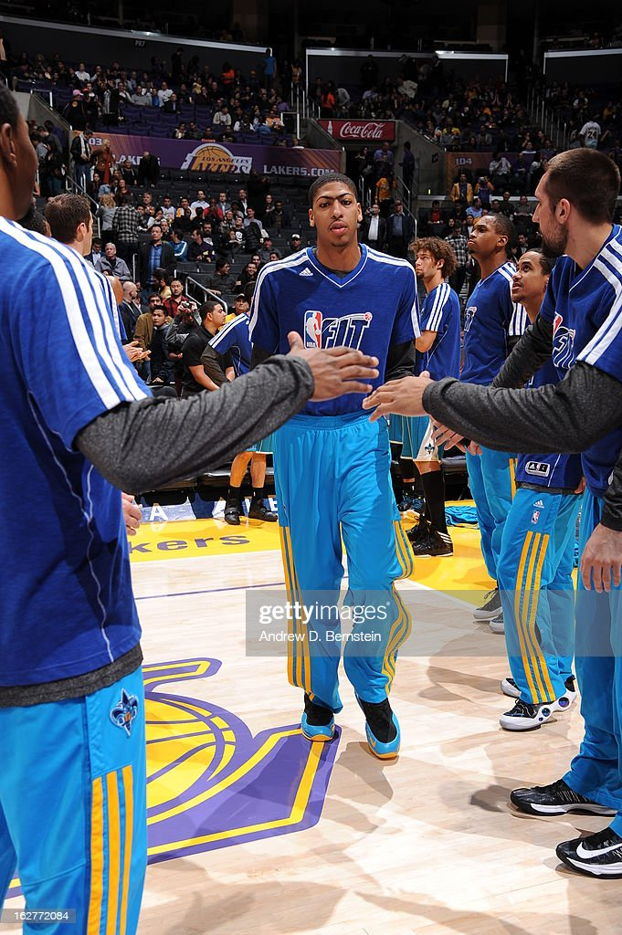 Anthony Davis #23 of the New Orleans Hornets runs out before the game against the Los Angeles Lakers at Staples Center on January 29, 2013 in Los Angeles, California.