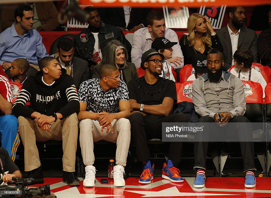 Anthony Davis of the New Orleans Hornets, Russell Westbrook and Kevin Durant of the Oklahoma City Thunder and James Harden of the Houston Rockets sit courtside during the Sears Shooting Stars on State Farm All-Star Saturday Night during NBA All Star Weekend on February 16, 2013 at the Toyota Center in Houston, Texas.