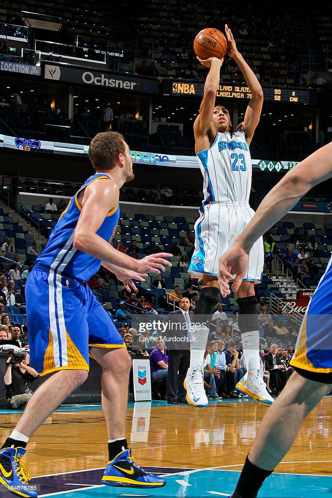 Anthony Davis #23 of the New Orleans Hornets shoots against the Golden State Warriors on March 18, 2013 at the New Orleans Arena in New Orleans, Louisiana.